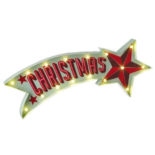 Retro Christmas Shooting Star LED Metal Wall Sign